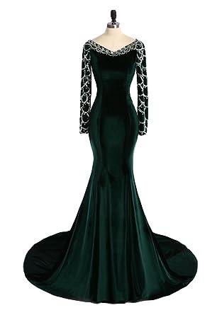 DressTailor Womens Royal Blue Velvet Mermaid Long Sleeve Evening Dresses V-Neck Crystals Beaded Evening