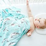 LifeTree-Muslin-Swaddle-Blankets-47-x-47-inches-Soft-Muslin-Baby-Blanket-for-Boys-Girls-Bamboo-Cotton-Breathable-Soft-Swaddling-Wrap-Baby-Shower-Gift-Whale-Print