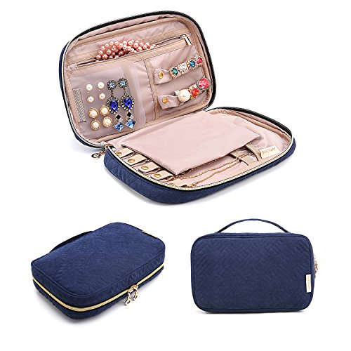 - BAGSMART Travel Jewelry Storage Cases Jewelry Organizer Bag for Necklace, Earrings, Rings, Bracelet, Blue