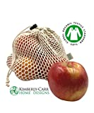 THE ORGANIC COTTON MESH REUSABLE PRODUCE BAG SET, Premium Washable Drawstring Bags for Fresh Fruits & Vegetables, Zero Waste Sustainable Alternative to Plastic Bags, 7 Pieces, Standard, Large & Jumbo