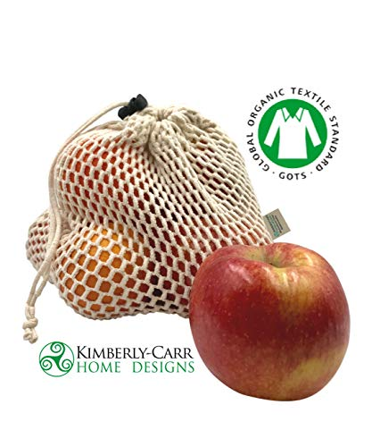 THE ORGANIC COTTON MESH REUSABLE PRODUCE BAG SET, Premium Washable Drawstring Bags for Fresh Fruits & Vegetables, Zero Waste Sustainable Alternative to Plastic Bags, 7 Pieces, Standard, Large & Jumbo by Kimberly-Carr Home Designs