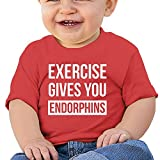 Exercise Gives You Endorphins Toddler Short-Sleeve Round Neck Shirts Baby Undershirts T Shirts - For Boys And Girls Red 12 Months