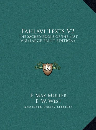 Download Pahlavi Texts V2: The Sacred Books of the East V18 pdf epub