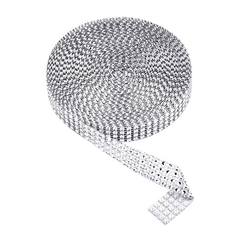- eBoot 4 Row 10 Yard Acrylic Rhinestone Diamond Ribbon for Wedding Cakes, Birthday Decorations, Baby Shower Events and Arts and Crafts Projects (Silver)