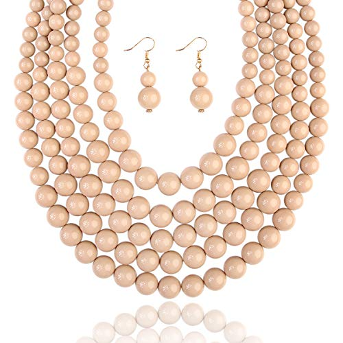 RIAH FASHION Multi Layer Beaded Bubble Statement Necklace - Round Ball Chunky Strand Drape Bib Collar Set Marbled, Colorful (5-Strand - Light Brown)
