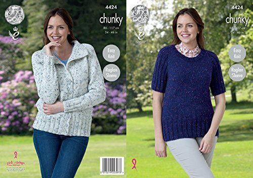 King Cole Ladies Knitting Pattern Womens Easy Knit Raglan Sleeve Jacket & Jumper Tweed Chunky ()