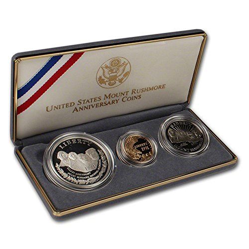 Us Commemorative Gold Coins (1991 US Mount Rushmore 3-Coin Commemorative Proof Set OGP)