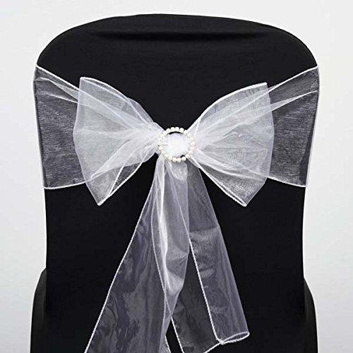 Efavormart 25pc x White Organza Chair Sash