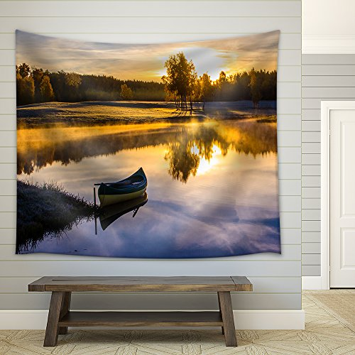 - wall26 - Sunrise Over The Lake with a Boat - Fabric Wall Tapestry Home Decor - 68x80 inches