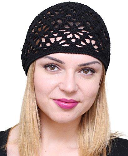 NFB Cotton Hats for Women Ladies Summer Beanie Lace Cloche Hair Accessories Cap (Black) by NFB