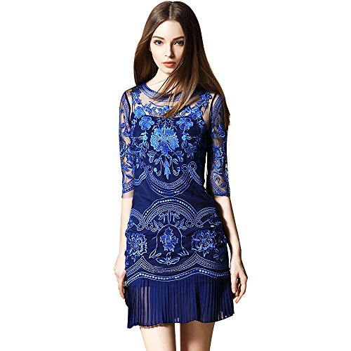 dezzal Damen Blau Ball Kleid Cocktail Tüll Spitze Floral Party bestickter transparenten rrxdn1F