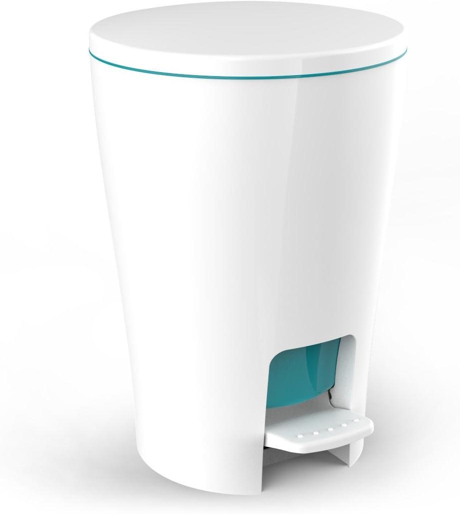 TATAY 4434913 - Diábolo Cubo baño con apertura a pedal, 5 litros de capacidad, PP, Turquesa, 19.00x21.00x28.20 cm