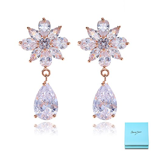 (Women's Cubic Zirconia Bridal Earrings - Elegant 14K Rose Gold Plated Floral Flower Teardrop CZ Crystal Rhinestone Cluster Earrings for Wedding Bride Bridesmaids Mother of Bride Pageant Party Prom)