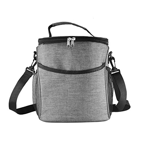 NOTAG Lunch Bag Reusable Insulated Lunch Box Freezable Handbag Waterproof Food Tote Bag Shoulder Bag with Adjustable Strap Large Capacity Lunch Organizer Container for Travel Outdoor Picnic,9L,Grey