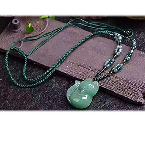 Dongling Green Natural Stone Pendant Hand Carved Fox Pendant Sweater Chain Necklace Lucky for Women Crystal Jewelry,B
