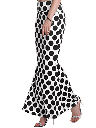 Skirt Black Fishtail Long - Florboom Womens Elastic Waist Polka Dot Long Length Mermaid Maxi Pencil Skirt Black XL
