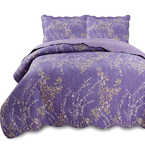 KASENTEX Country-Chic Printed Pre-Washed Set. Microfiber Fabric Floral Design. Queen Quilt + 2 Shams. Purple
