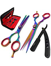 Brance BSS-02 Professional/Salon/Home/Pet | Hairdresser Shears Set Includes Thinning//Texturizing Scissors + Straight Razor and comb with Pro BLACK Case (Multi Scissors Set AU)