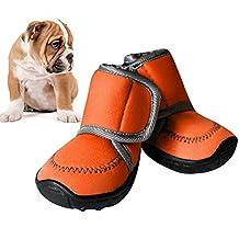UEETEK 4Pcs Waterproof Dog Shoes Nonslip Soft Sole Dog Boots XXL