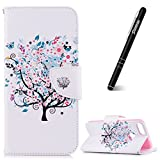 Slynmax Huawei P Smart Phone Case, Huawei P Smart Wallet Case, Ultra Slim Lightweight Bookstyle Printing White Cherry Tree Design Premium Flip Phone Cover Folio Leather Wallet Shockproof Folder Case