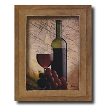 Grapes And Wine Kitchen Tuscan Contemporary Wall Picture Art Print