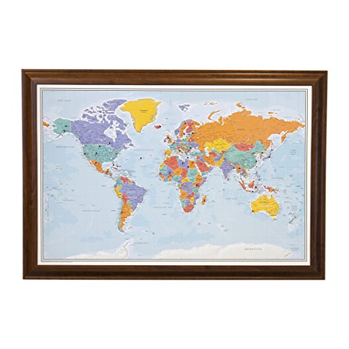 (Push Pin World Travel Map with Brown Frame and Pins - Blue Oceans 24 x 36)