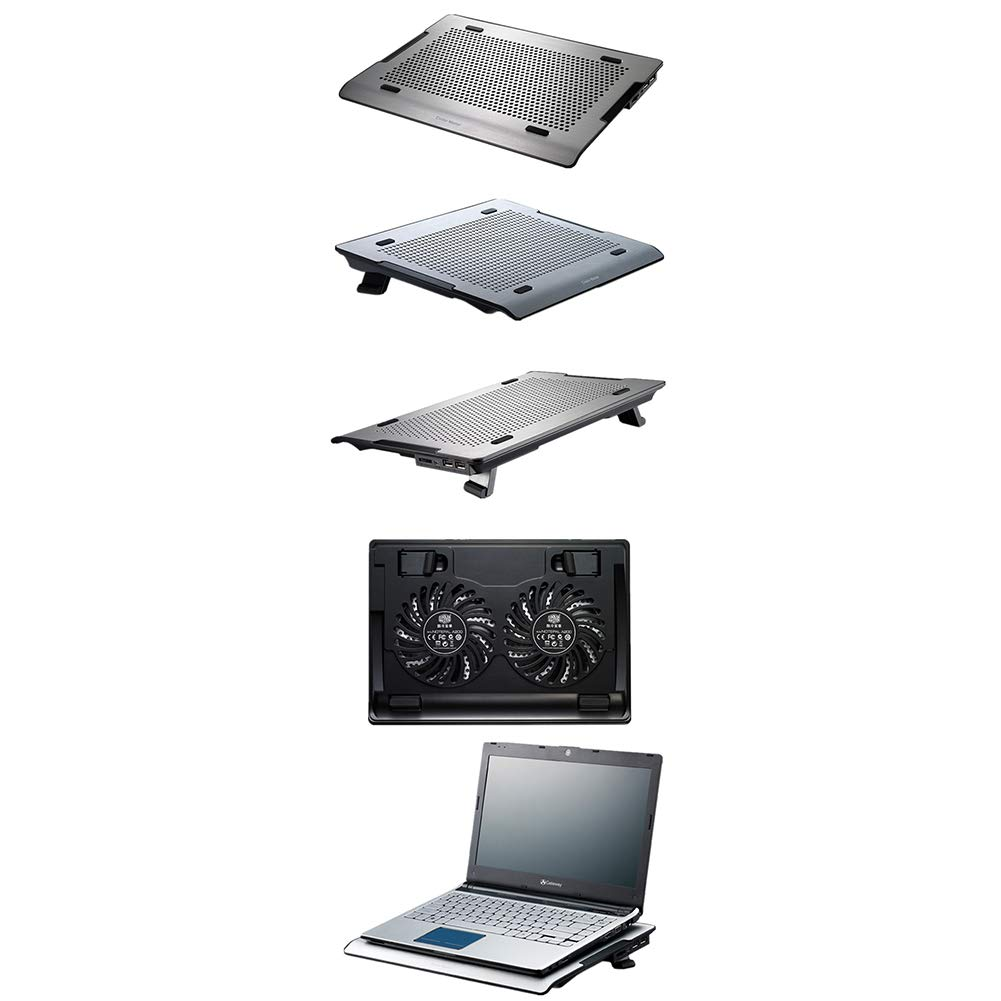 Ho,ney Laptop Cooler - Folding Portable Metal Aluminum Panel, Double Fan, with Adjustable Speed Mute Design, Suitable for 15.6 Inches Or Less -1053 Notebook Cooler by Ho,ney (Image #4)