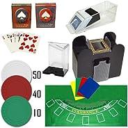 TMG Professional Casino Style Deluxe 6-Deck Blackjack Set - Includes Bonus 100 Poker Chips!