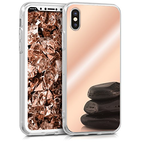 kwmobile Mirror Case Compatible with Apple iPhone X - TPU Silicone Bumper Protective Cover - Rose Gold Reflective