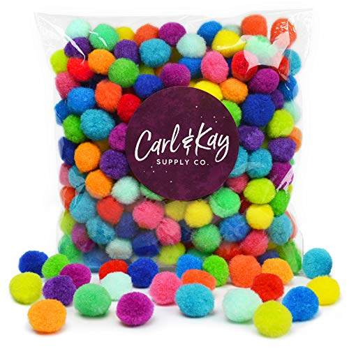 Carl & Kay [250 Pcs] 1 Inch Pom Poms in Bright & Bold Assorted Colors | Craft Pom Pom Balls | Pompoms for Crafts | Pom Pom for Crafts | Craft Pom Poms for Crafts