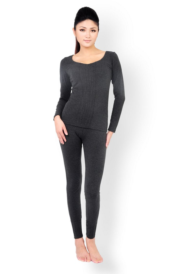 Godsen Women's 2 Piece Thermal Long Underwear Set Stretch Top & Bottom-Charcoal gray GWW7008