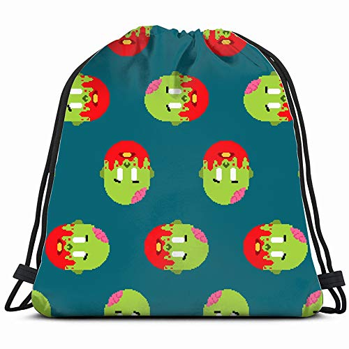 Zombie Pixel Art Zombies Angry People Drawstring Backpack Bag Sackpack Gym Sack Sport Beach Daypack For Girls Men & Women Teen Dance Bag Cycling Hiking Team Training -