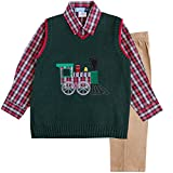 Image of Good Lad Toddler Boy 3 pc Green Train Appliqued Sweater Set