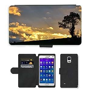 CARD POCKET BOOK CASE PU LEATHER CASE // M00421562 Árbol de la puesta del sol de la // Samsung Galaxy Note 4 IV