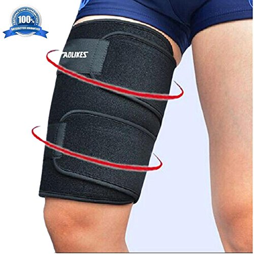 Mcolics Compression Thigh Recovery Sleeve for Hamstring Pain, Groin Pain, & Quad Support - Guaranteed to Speed up Recovery & Relieve Pain and Soreness - Great for Running & All Sports! (1 Sleeve) ()