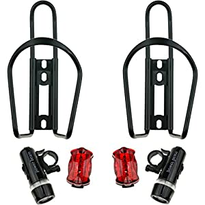 Bike Water Bottle Holder Cage by One Planet (2-Pack) with 2 LED Headlights and Taillight - Durable Alloy, Perfect for Extended Periods of Cycling. Keep Hydrated All The Time!