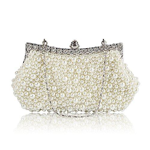 purewhite Dinner Shoulder Bridal XIAOLONGY Hand Bag Pearl Bag Hot Dress Luxury Bag Fashion Bag Cheongsam Explosion Diagonal gwwaxqF