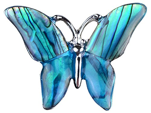 Alilang Small Watermarks Glossy Abalone Shell Winged Butterfly Silvery Tone Pin Brooch