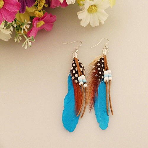 Phonphisai shop Earrings Indian Feathers Feather Leather Beads Earrings Bohemian Style Color Blue ()