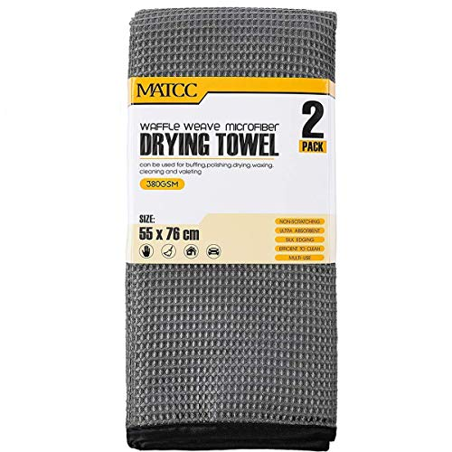(MATCC Microfiber Drying Towel Waffle Weave Large Microfiber Cleaning Cloths 2 Pack (21'' x 30'') Silk Edging Car Wash Detailing Towel for Washing Waxing Dusting Polishing and Drying)