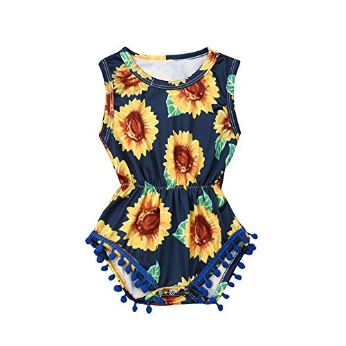 Newborn Baby Girl Floral Pompom Tassel Romper Onesies Infant Sleeveless Striped Bodysuit Jumpsuit Sunsuit Clothes (Sunflower Romper, 18-24M)