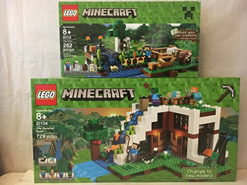LEGO Minecraft The Waterfall Base & LEGO Minecraft The Farm