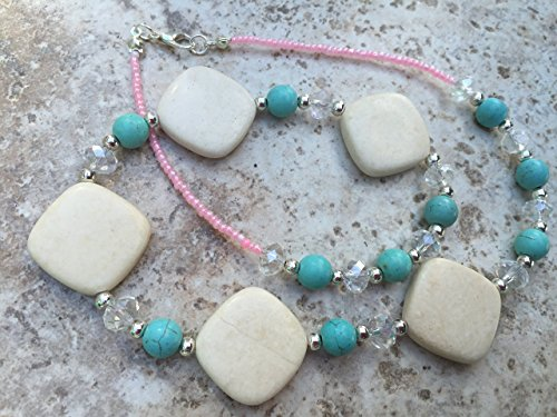 Natural Creamy White River Stone, Turquoise Magnesite, and Clear Glass Handmade Beaded Necklace