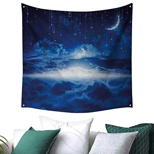 BlountDecor Night Decor Tapestry Heavenly Majestic Galaxy View Falling Stars Celestial Magical Cosmos Dorm Living Room Bedroom Navy Blue White Indigo 47W x 47L Inch (Screen Fireplace Celestial)