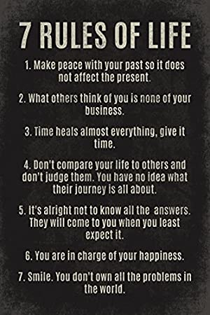 7 Rules Of Life motivational poster print Keep Calm Collection