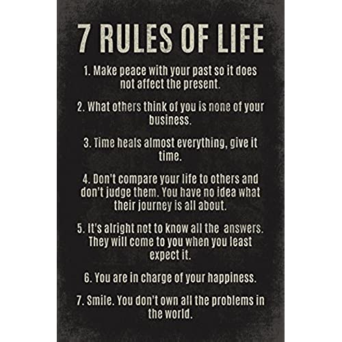 Keep Calm Collection 7 Rules Of Life, Motivational Poster Print