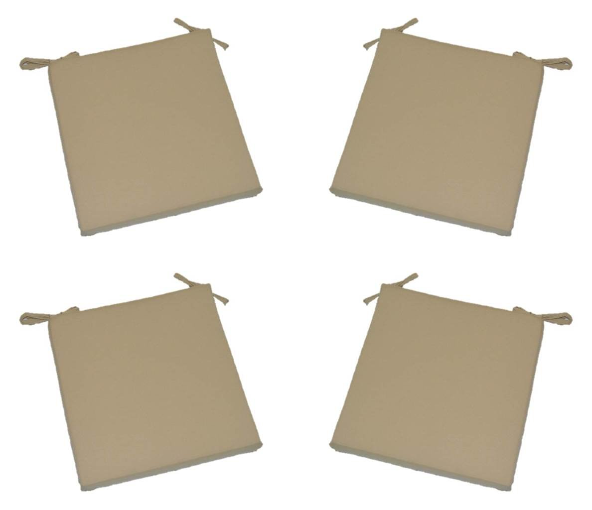 Set of 4 – Universal 2 Thick Foam Seat Cushion with Ties for Dining Patio Chair – Light Tan Khaki Fabric – Choose Size 16 x 16