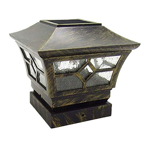 (CHEEKON 4 x 4 Solar Post Cap Lights, Metal and Glasses, Bronze, Wood Post Fence Post Cap Outdoor Garden Yard Deck Street Top Wall (4 X 4) )
