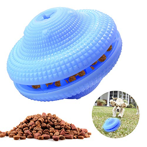 Wanfei Dog Food Toy Ball, Pet Puzzle Gyro Toy, IQ Treat Puppy Food Ball Dispenser, Anti-bite Anti-Injury Toys Interactive Dog Chew Toy, Dog Activity Snack Ball for Small Medium Dogs and Cats (Blue)
