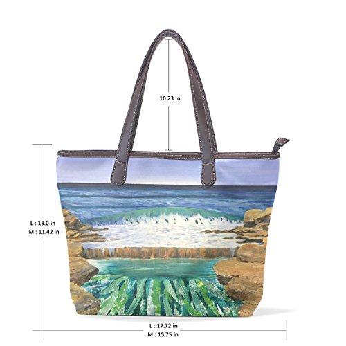 À 33x45x13 Cm Coosun Sac En Bandoulière Pu L Femmes Art Grand Poignée Cuir Sea Muticolour wq4OwzxA